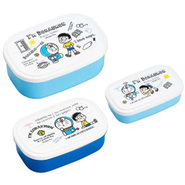 お弁当箱 3個入 シール容器 入れ子式 ドラえもん キャラクター ( 子供 レンジ対応 保存容器 日本製 デザートケース 180ml 300ml 480ml