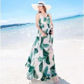 夏物 レディース フェミニン シフォンワンピ ロングワンピース マキシワンピ リゾート ワンピースビーチ 海 ボヘミア風 旅行 着痩せ