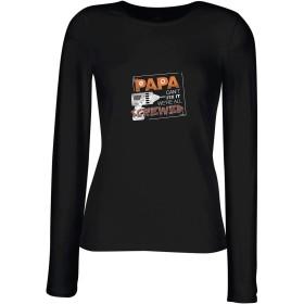 lepni.me 女性の長袖Tシャツ パパがそれを直すことができないならば、我々はすべてねじ込みです、父の日衣装 (L 黒 多色)