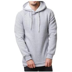 YAXINHE Men's Drawstring Sport Pocket Casual Hoodie Jacket with Side Shirring Light Grey XL