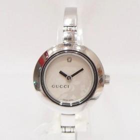 時計 グッチ GUCCI レディース 腕時計 フラワー柄文字盤 1Pダイヤ 【中古】【あすつく】