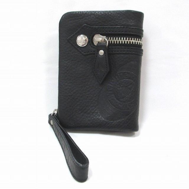 ヴィヴィアンウエストウッド 二つ折り財布 レザー ブラック 【中古】【あすつく】