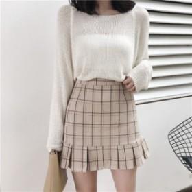 スカート レディース ファッション オシャレ 可愛い 大きいサイズ チェック柄 レトロ ハイウエスト プリーツスカート お出かけ デート
