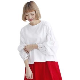 (メルロー) merlot カットワーク刺繍袖スタンドネックプルオーバー オフホワイト