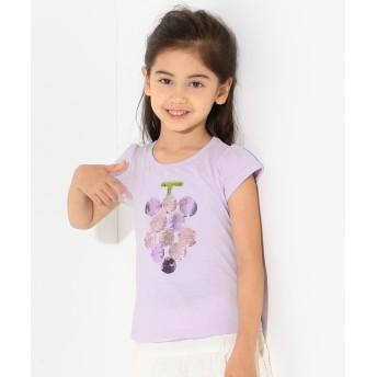 【オンワード】 any FAM KIDS(エニィファム キッズ) 【KIDS】ミラクルスパンコール フルーツ Tシャツ ふじ色 90 キッズ 【送料無料】