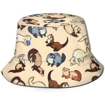 Adorable Ferret Patternバケットハット ハット 帽子 紫外線対策 サファリハット カジュアル スポーツ メンズ レディース プレゼント UVカット つば広 おしゃれ 可愛い 日よけ 夏季 小顔効果
