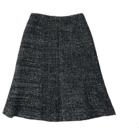 美品◎正規品 CHANEL/シャネル 02A P19873 レディース ココマークプレート付き ツイード 膝丈 台形スカート 黒×白 36 フランス製