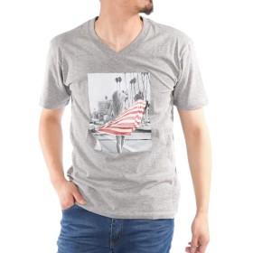 ガールフォトプリントVネック半袖Tシャツ L 杢グレー