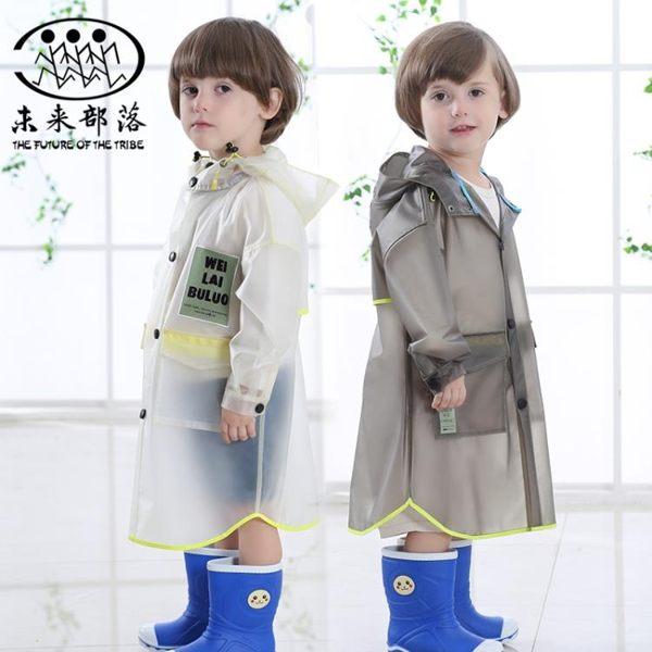 可愛透明兒童雨衣男女童寶寶帶書包位雨披加厚【聚寶屋】