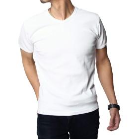 Tシャツ メンズ 夏服 メンズ tシャツ おしゃれ Tシャツ 半袖 クルーネック vネック メンズ 服 無地 カットソー 半袖Tシャツ ティーシャツ 白 黒 紺 ギフト プレゼント ラックス LAX-02 (L, ホワイト(Vネック))