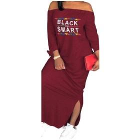 sayahe 女性は長い鉛筆のドレスを印刷ラインラインのサイズを分割 Wine Red M