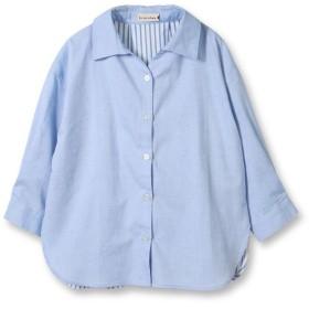 ブランシェス ストライプ切り替えロング長袖シャツ(90~150cm) レディース ブルー 100cm 【branshes】