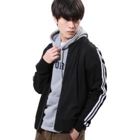 JIGGYS SHOP MA-1 メンズ ジャケット アウター ストレッチ 薄手 スーツ地 秋服 XL ブラック×ホワイト
