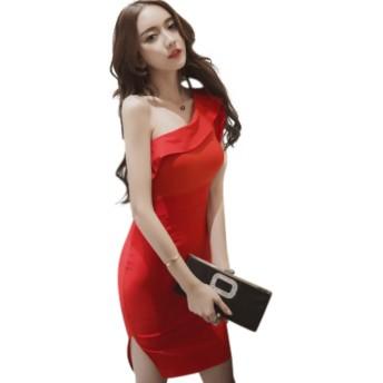 『ヴォーグ』VOGUE (0077-2) セクシー ワンショルダー レッド キャバドレス ミニ キャバワンピ ミニ ドレス 赤 M