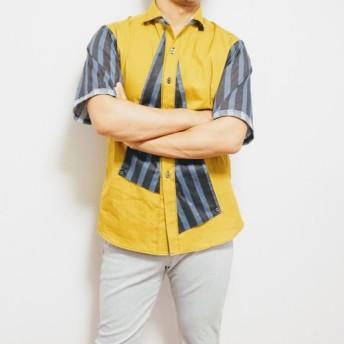 「Den-Shirt700」 大人メンズ半袖シャツ イエロー