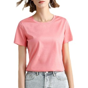 Sodossny-JP Women All-match Short Sleeve Slim Blouse Solid Color T-Shirt 19 XL