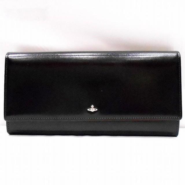 ヴィヴィアンウエストウッド レザー ブラック 2つ折り 財布 長財布 【中古】【あすつく】