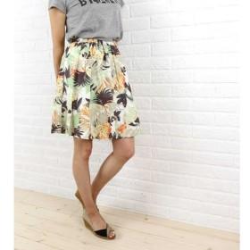 Dee Flavor(ディーフレイバー)コットン 膝丈 ボタニカルプリント ギャザースカート・440024-0501501