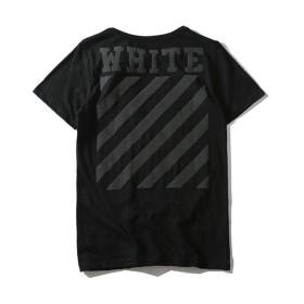 OFF-WHITE オフホワイト メンズ トップス ゆったり シンプル スタイル 通勤 綿 Tシャツ (ブラック, M)