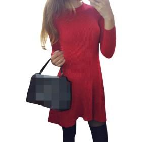 Romancly レディースボールガウンロングスリーブプルオーバーニットクルーネックドレス Red S