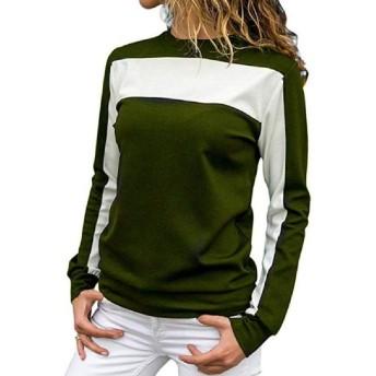 Tootess 女性アクティブ秋冬シンプルチュニックシャツブラウストップ Army Green XS