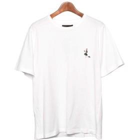 [インクルーシブ]IN'CREWSIVE 半袖Tシャツ 6.5オンス コットン ワンポイント刺繍Tシャツ IN-1114S メンズ アパレル 01.ホワイトラッキー XXL(3L)