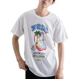 [ビヨンドユー] Tシャツ メンズ プリント 半袖Tシャツ 黒 ブラック 白 ホワイト ロゴT ロゴtシャツ byd8122s-WHT-L