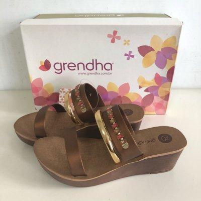 《現貨》Grendha 女生 拖鞋 巴西尺寸36,37,38(金屬風雙環 厚底楔型涼鞋-古銅色)