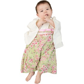 Sweet Mommy 袴 ロンパース ベビー 着物 カバーオール 日本製和柄ちりめん オーガニックコットン身頃 グリーン 80