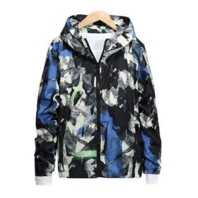[CAIXINGYI]スプリング ファッション ジャケット ゆったり カモフラージュ ミックスカラー  パーカー カジュアル メンズ ブラック4XL