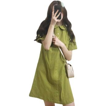 [Bestmood]半袖ワンピース ゆったり ショート丈 無地 ワンピース 韓国ファッション フェミニン おしゃれミニワンピース 通学 可愛い(Pグリーン)