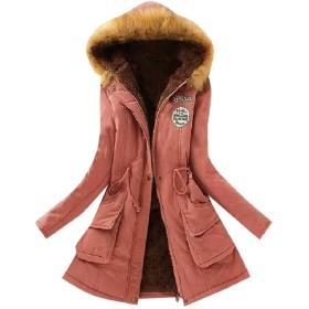 AngelSpace 女性のフォークスファーは暖かいパーカーパーカアンロックスロングダウンコート peachpuff L