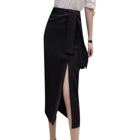 AngelSpace 女性半ばロングファッション中腰ウエスト分割事務所スカート Black XS