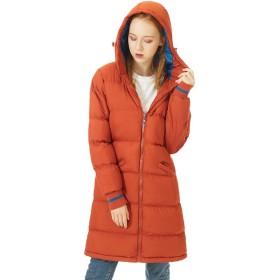 ダウンコート レディース ロング フード付き 暖かい コート 中綿 ダウンジャケット 厚手 防風 防寒 アウター 軽量 XL オレンジ
