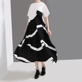 レディース ワンピース 『お得』 半袖 配色 Aライン ワンピース 大きいサイズ 大人カジュアル 30代 40代 50代 ファッション