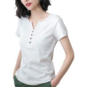 [えみり] レディース 半袖シャツ ヘンリーネック トップス Tシャツ Vネック ボタン 無地 スリム 大きいサイズ コットン カジュアル シンプル ホワイト4XL