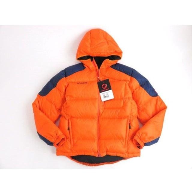 未使用品●マムート Mammut  ロゴ刺繍・ワッペン付き Ambler Hooded Jacket ダウンジャケット オレンジ×ネイビー XLサイズ