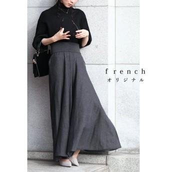french 美シルエットな上質ニットワイドパンツ チャコール S〜L/2L〜3L cawaii