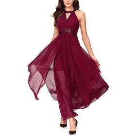 AngelSpace 女性ハイウエスト不規則ホルターシフォンアンクル丈ドレス Red XS