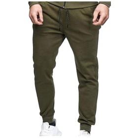 Macondoo メンズトレーニング弾性ウエスト立体スポーツズボンジョガーパンツ Army Green S