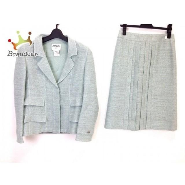 シャネル CHANEL スカートスーツ サイズ40 M レディース ライトグリーン プリーツ  値下げ 20190910