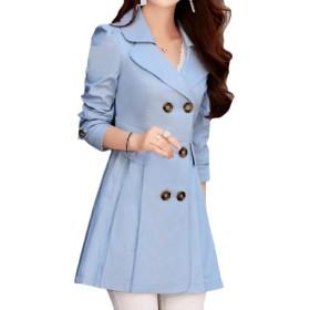 cheelot 女性ダブルは、ラペルはウエストスキニートレンチコートアウト着用スモーク Sky Blue S