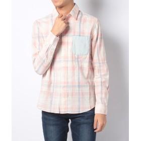 【50%OFF】 メンズビギ ストーンウォッシュマドラスチェックシャツ メンズ ピンク M 【Men's Bigi】 【セール開催中】
