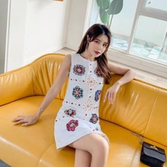 刺繍ワンピース 花柄 刺繍 ワンピース 花モチーフ ノースリーブ ワンピース Aライン ノースリーブ ワンピース タイト レディース ドレス