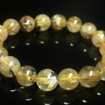 お試し価格 現品一点物 太陽放射タイチンルチル ブレスレット 金針水晶 天然石 数珠 11 12ミリ OTHR22