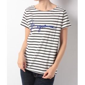 【60%OFF】 インタープラネット mignonneロープ刺繍Tシャツ レディース ボーダー×オフホワイト 002 【INTERPLANET】 【セール開催中】