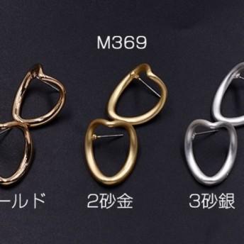 M369_2 12個 ピアス金具 変形フープ 20×25mm 3×【4ヶ】
