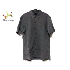 ジョセフオム JOSEPH HOMME 半袖シャツ サイズ46 XL メンズ 美品 黒×白 チェック柄 新着 20190805