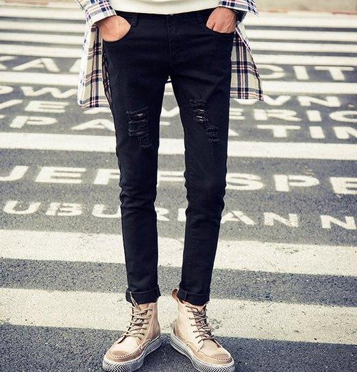 韓國 明星 著用 大腿 破膝蓋 牛仔 刷破 水洗 黑 潮流 窄 身褲 小腳褲