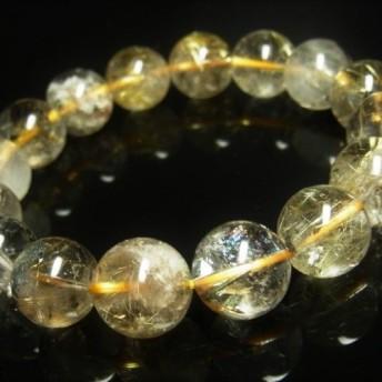 イチオシ 現品一点物 太陽放射タイチンルチル ガーデンルチルブレスレット 金針水晶数珠 13 14ミリ OTHR23